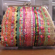 模様織りのガマポーチ
